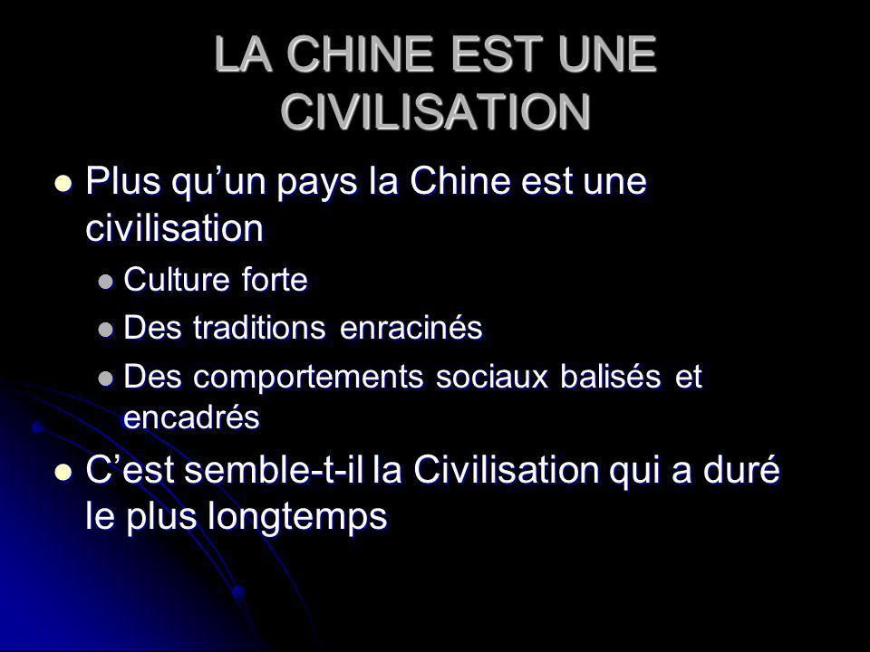 LA CHINE EST UNE CIVILISATION Plus quun pays la Chine est une civilisation Plus quun pays la Chine est une civilisation Culture forte Culture forte Des traditions enracinés Des traditions enracinés Des comportements sociaux balisés et encadrés Des comportements sociaux balisés et encadrés Cest semble-t-il la Civilisation qui a duré le plus longtemps Cest semble-t-il la Civilisation qui a duré le plus longtemps