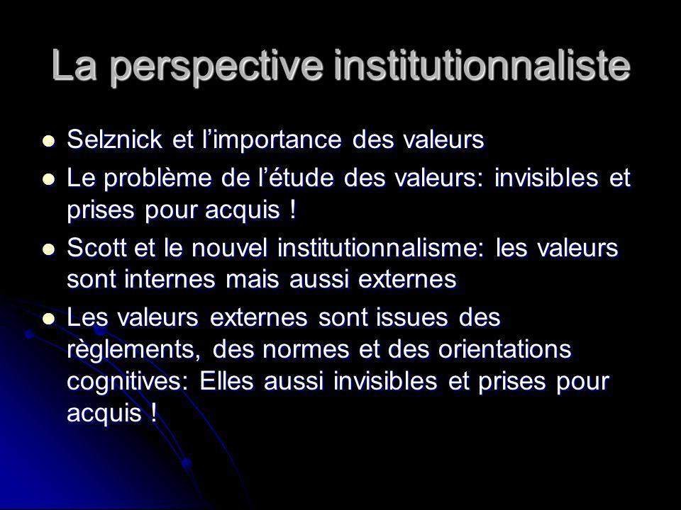 La perspective institutionnaliste Selznick et limportance des valeurs Selznick et limportance des valeurs Le problème de létude des valeurs: invisibles et prises pour acquis .