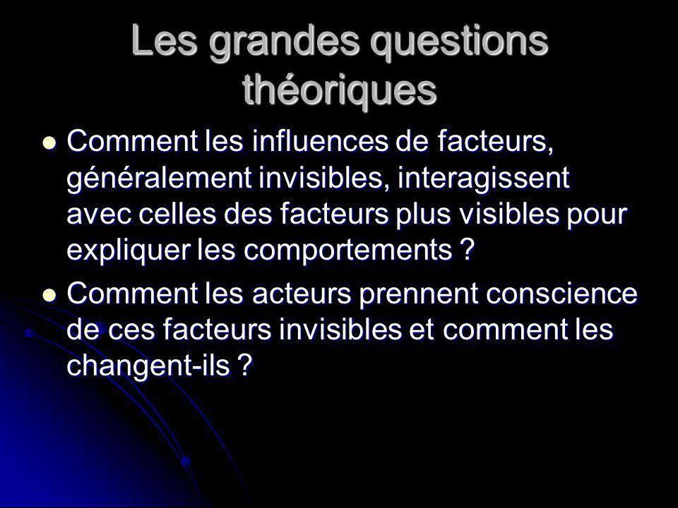 Les grandes questions théoriques Comment les influences de facteurs, généralement invisibles, interagissent avec celles des facteurs plus visibles pour expliquer les comportements .