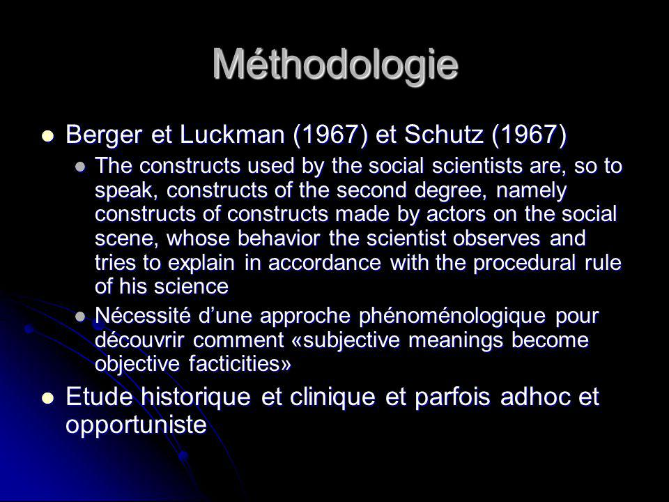 Méthodologie Berger et Luckman (1967) et Schutz (1967) Berger et Luckman (1967) et Schutz (1967) The constructs used by the social scientists are, so to speak, constructs of the second degree, namely constructs of constructs made by actors on the social scene, whose behavior the scientist observes and tries to explain in accordance with the procedural rule of his science The constructs used by the social scientists are, so to speak, constructs of the second degree, namely constructs of constructs made by actors on the social scene, whose behavior the scientist observes and tries to explain in accordance with the procedural rule of his science Nécessité dune approche phénoménologique pour découvrir comment «subjective meanings become objective facticities» Nécessité dune approche phénoménologique pour découvrir comment «subjective meanings become objective facticities» Etude historique et clinique et parfois adhoc et opportuniste Etude historique et clinique et parfois adhoc et opportuniste