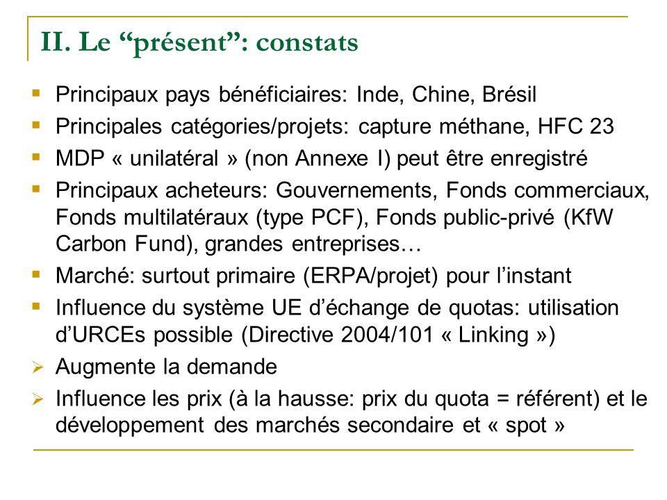 II. Le présent: constats Principaux pays bénéficiaires: Inde, Chine, Brésil Principales catégories/projets: capture méthane, HFC 23 MDP « unilatéral »