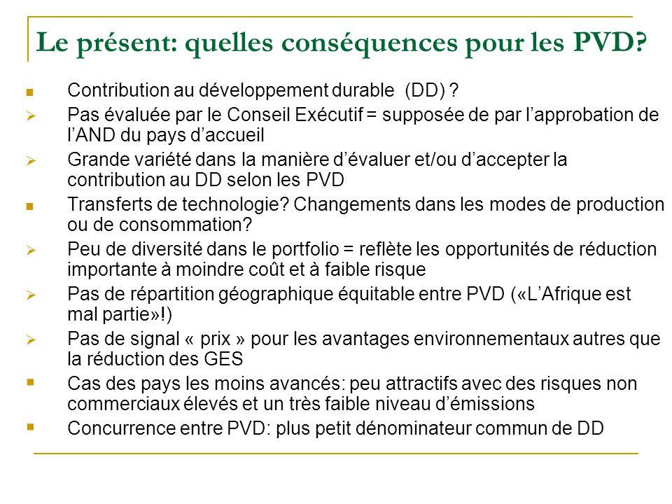 Le présent: quelles conséquences pour les PVD. Contribution au développement durable (DD) .