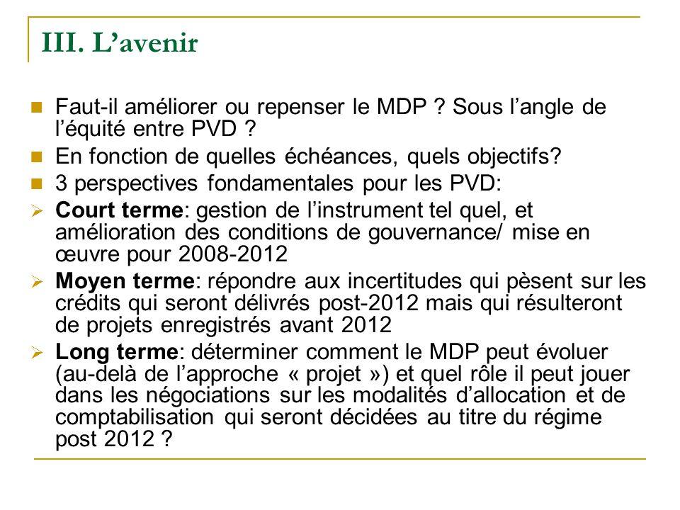 III. Lavenir Faut-il améliorer ou repenser le MDP .