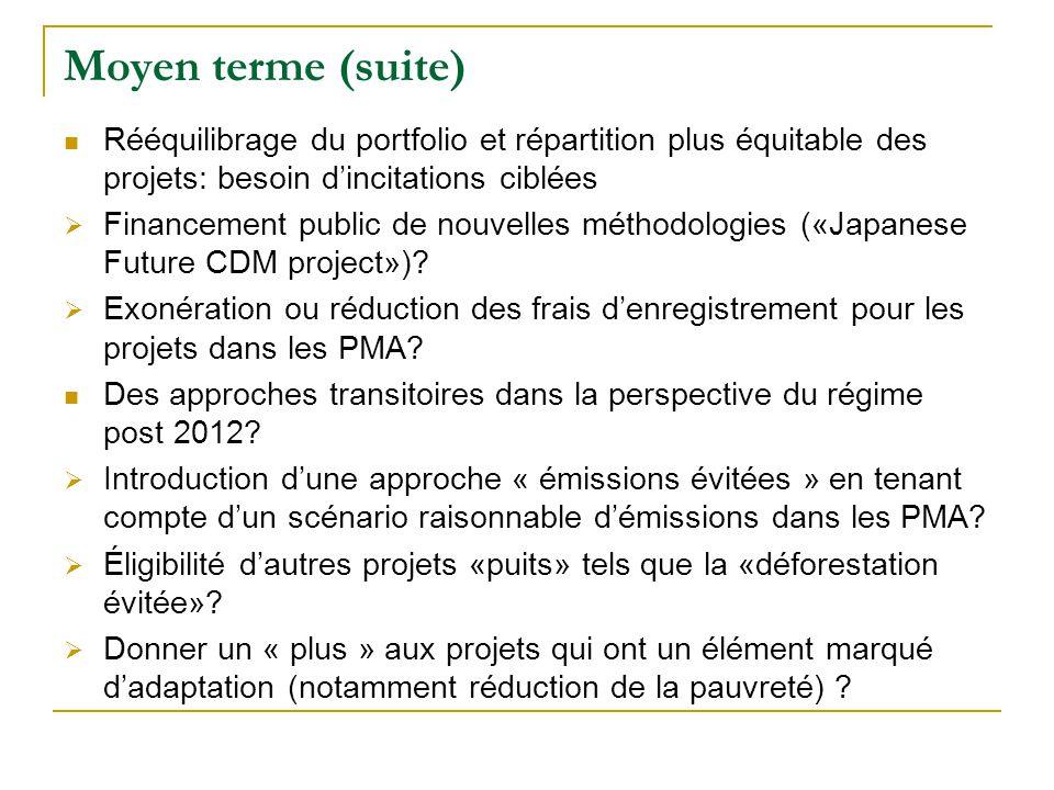 Moyen terme (suite) Rééquilibrage du portfolio et répartition plus équitable des projets: besoin dincitations ciblées Financement public de nouvelles méthodologies («Japanese Future CDM project»).