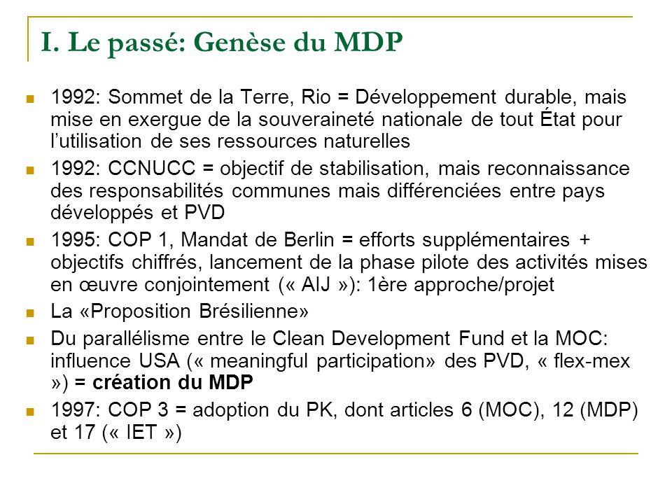 Genèse (suite) 1999: COP 5 = la panne des négociations sur larticle 12 du PK, la roue de secours des projets «AIJ», laboratoire de recherche sur les futures modalités du MDP (+ MOC) Efforts de Mrs.