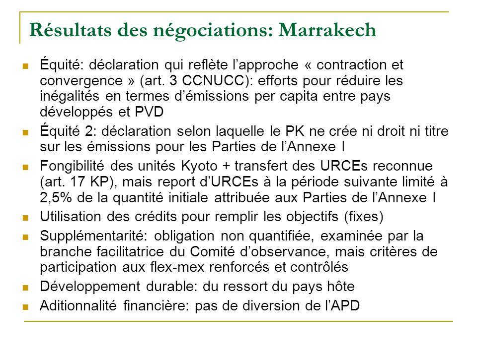Résultats des négociations: Marrakech Équité: déclaration qui reflète lapproche « contraction et convergence » (art.