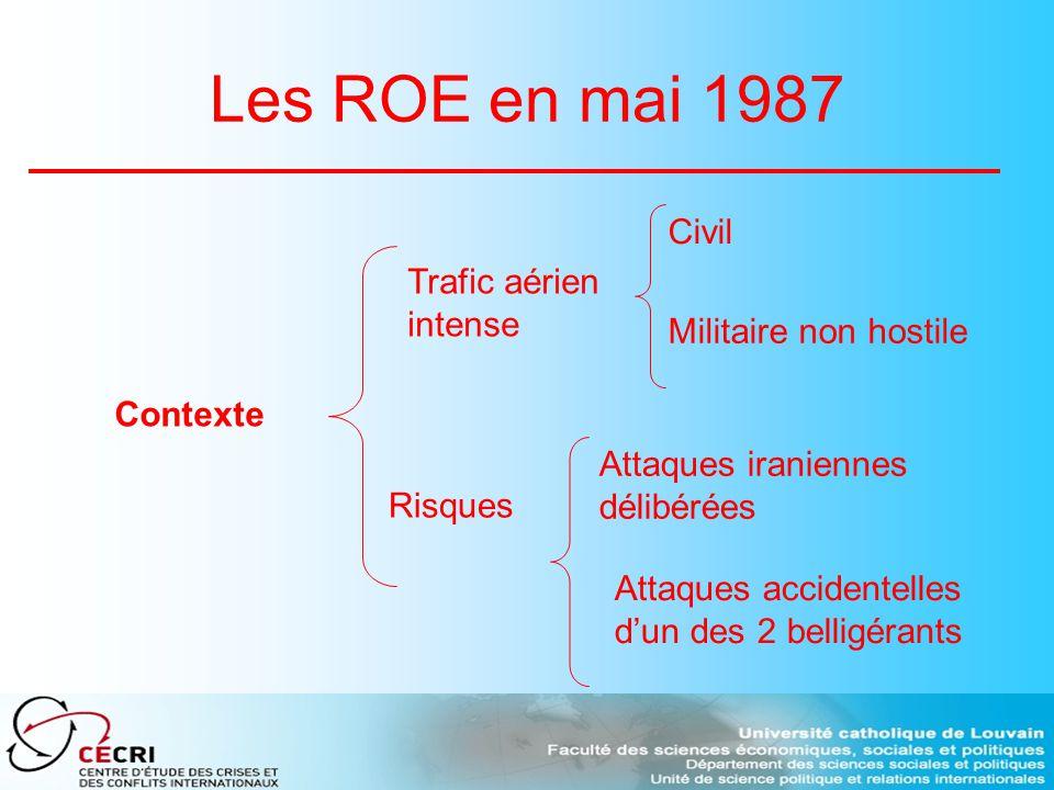 Les ROE en mai 1987 Contexte Trafic aérien intense Civil Militaire non hostile Risques Attaques iraniennes délibérées Attaques accidentelles dun des 2 belligérants