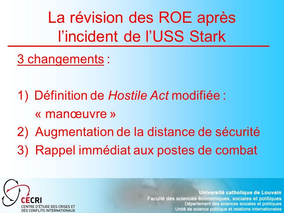 La révision des ROE après lincident de lUSS Stark 3 changements : 1)Définition de Hostile Act modifiée : « manœuvre » 2) Augmentation de la distance de sécurité 3) Rappel immédiat aux postes de combat