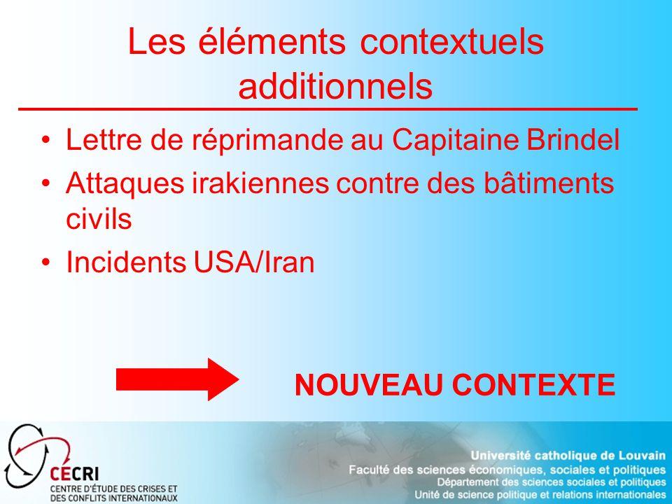 Les éléments contextuels additionnels Lettre de réprimande au Capitaine Brindel Attaques irakiennes contre des bâtiments civils Incidents USA/Iran NOUVEAU CONTEXTE