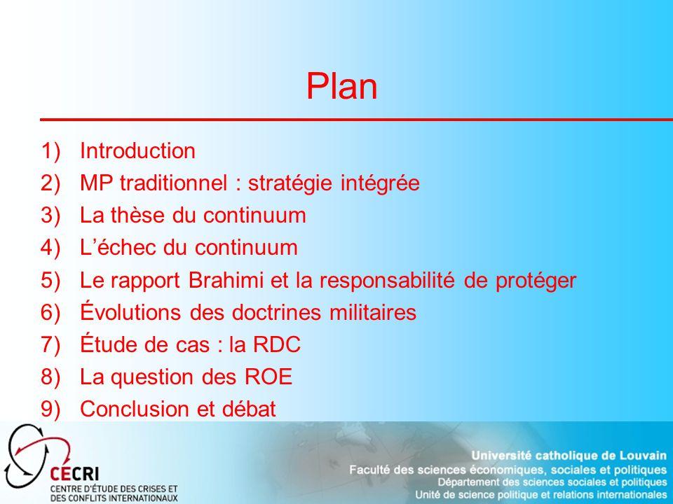 Plan 1)Introduction 2)MP traditionnel : stratégie intégrée 3)La thèse du continuum 4)Léchec du continuum 5)Le rapport Brahimi et la responsabilité de protéger 6)Évolutions des doctrines militaires 7)Étude de cas : la RDC 8)La question des ROE 9)Conclusion et débat
