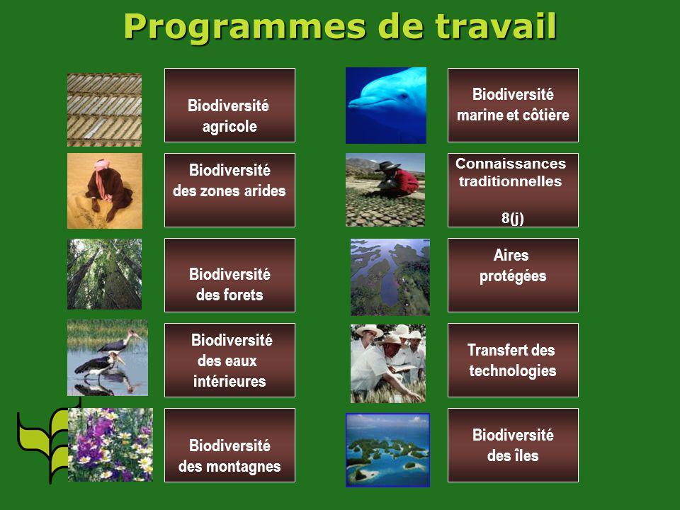 Biodiversité agricole Biodiversité des zones arides Biodiversité des forets Biodiversité des eaux intérieures Biodiversité des montagnes Biodiversité marine et côtière Connaissances traditionnelles 8(j) Aires protégées Transfert des technologies Biodiversité des îles