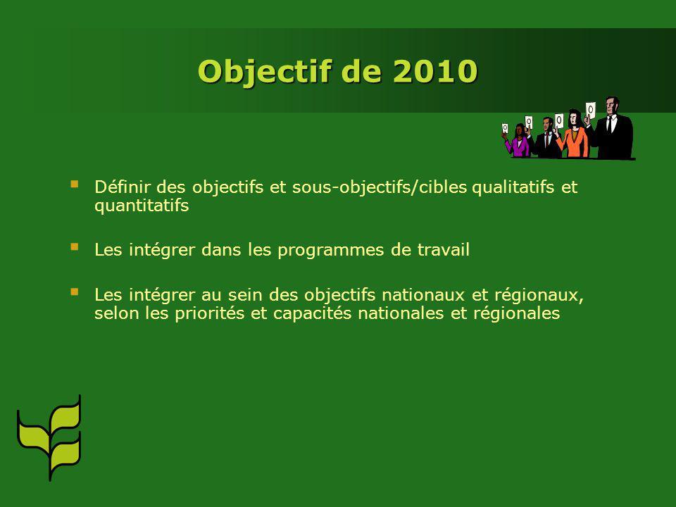 Objectif de 2010 Définir des objectifs et sous-objectifs/cibles qualitatifs et quantitatifs Les intégrer dans les programmes de travail Les intégrer au sein des objectifs nationaux et régionaux, selon les priorités et capacités nationales et régionales