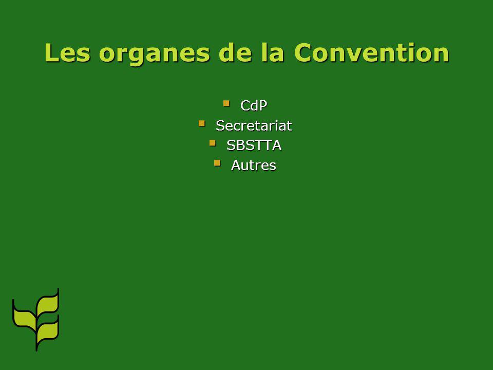 Les organes de la Convention CdP CdP Secretariat Secretariat SBSTTA SBSTTA Autres Autres