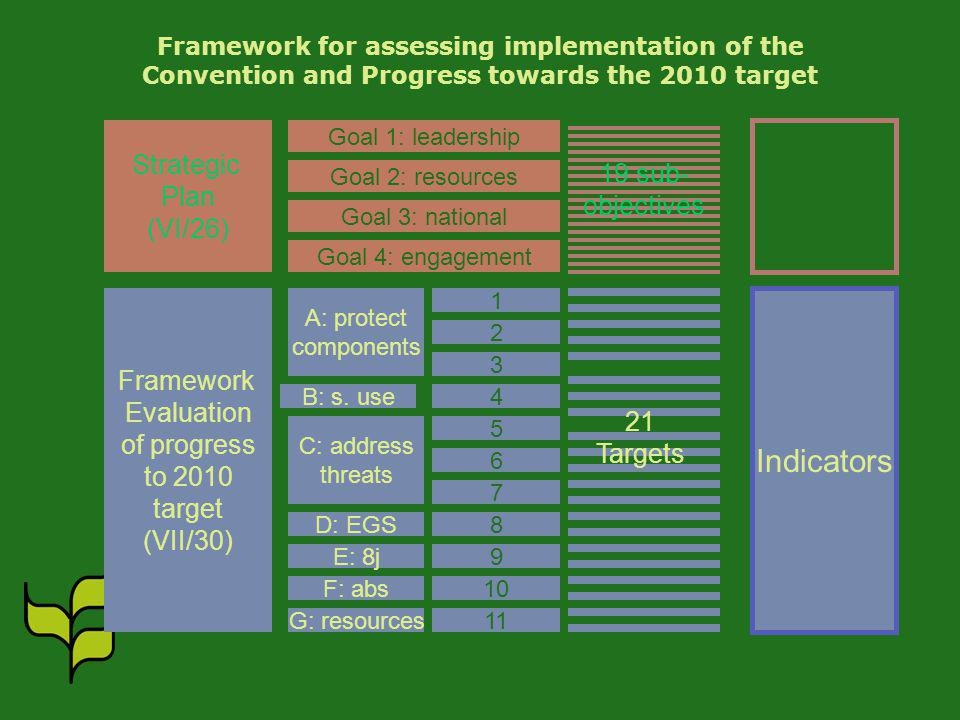 Framework for assessing implementation of the Convention and Progress towards the 2010 target Strategic Plan (VI/26) Framework Evaluation of progress