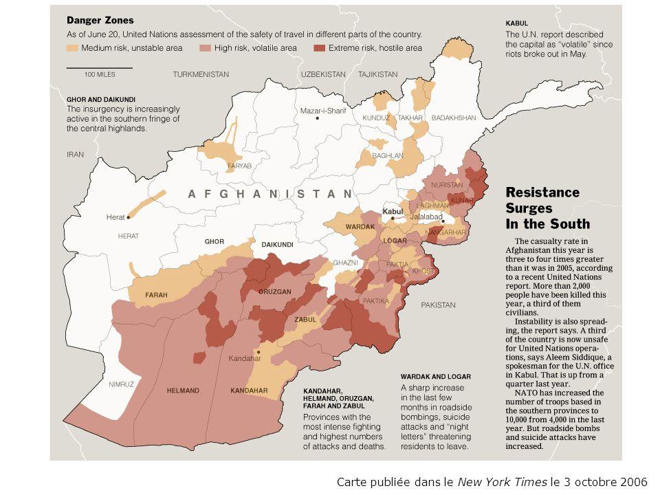 Carte publiée dans le New York Times le 3 octobre 2006