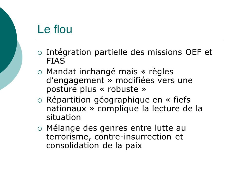 Le flou Intégration partielle des missions OEF et FIAS Mandat inchangé mais « règles dengagement » modifiées vers une posture plus « robuste » Répartition géographique en « fiefs nationaux » complique la lecture de la situation Mélange des genres entre lutte au terrorisme, contre-insurrection et consolidation de la paix