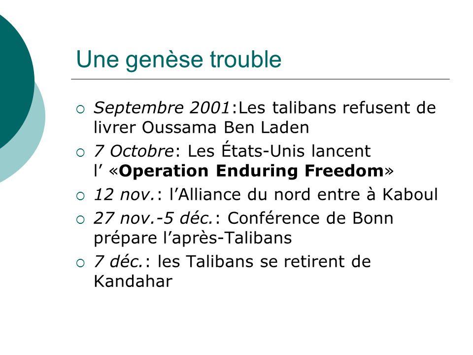 Une genèse trouble Septembre 2001:Les talibans refusent de livrer Oussama Ben Laden 7 Octobre: Les États-Unis lancent l «Operation Enduring Freedom» 12 nov.: lAlliance du nord entre à Kaboul 27 nov.-5 déc.: Conférence de Bonn prépare laprès-Talibans 7 déc.: les Talibans se retirent de Kandahar