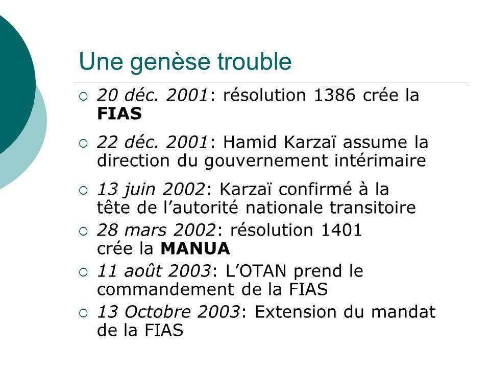 Une genèse trouble 20 déc. 2001: résolution 1386 crée la FIAS 22 déc.