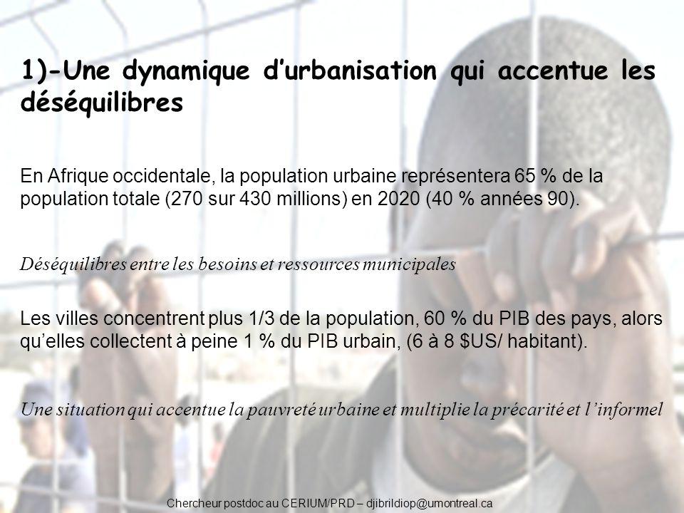 1)-Une dynamique durbanisation qui accentue les déséquilibres En Afrique occidentale, la population urbaine représentera 65 % de la population totale