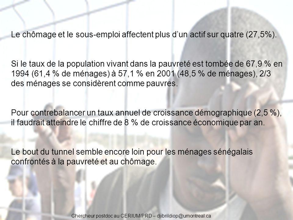 Chercheur postdoc au CERIUM/PRD – djibrildiop@umontreal.ca Le chômage et le sous-emploi affectent plus dun actif sur quatre (27,5%). Si le taux de la
