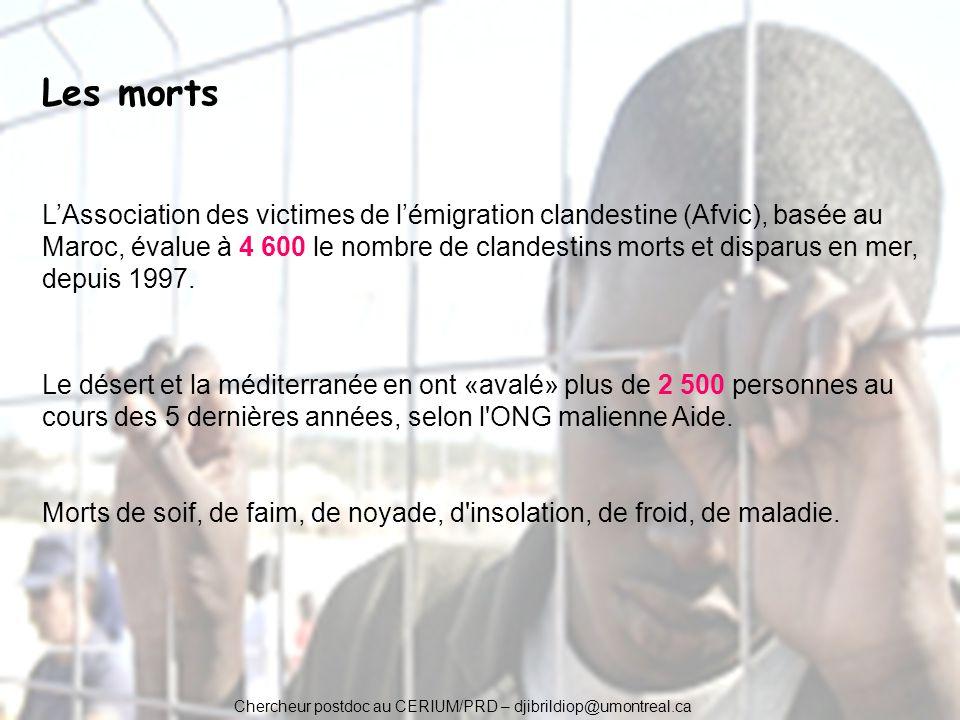 Chercheur postdoc au CERIUM/PRD – djibrildiop@umontreal.ca Les morts LAssociation des victimes de lémigration clandestine (Afvic), basée au Maroc, éva