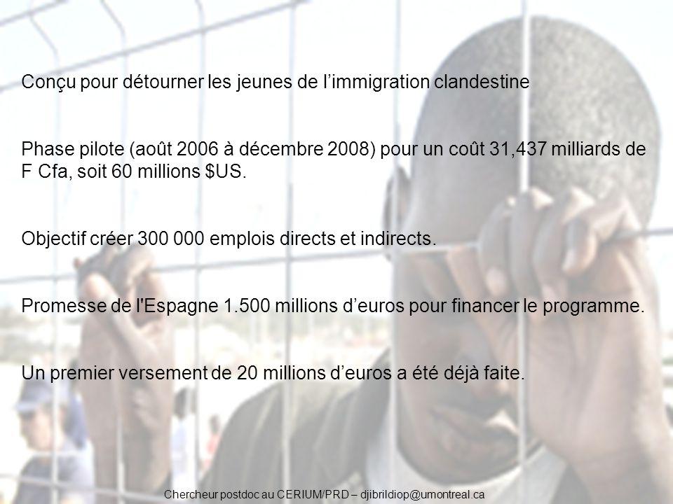 Chercheur postdoc au CERIUM/PRD – djibrildiop@umontreal.ca Conçu pour détourner les jeunes de limmigration clandestine Phase pilote (août 2006 à décem