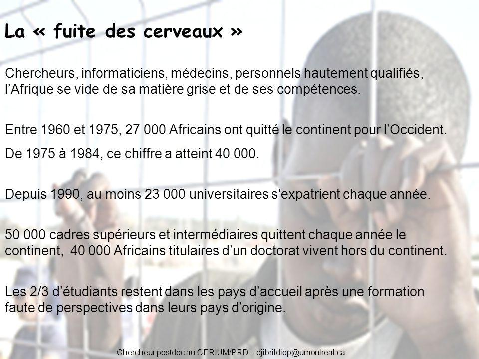 Chercheur postdoc au CERIUM/PRD – djibrildiop@umontreal.ca La « fuite des cerveaux » Chercheurs, informaticiens, médecins, personnels hautement qualif