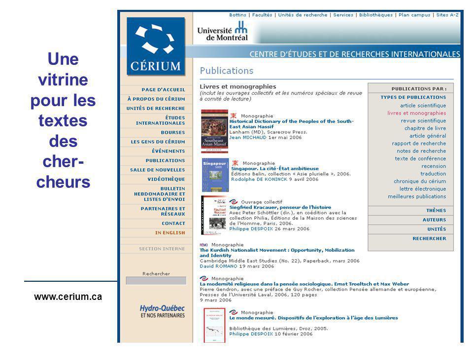 www.cerium.ca Une vitrine pour les textes des cher- cheurs