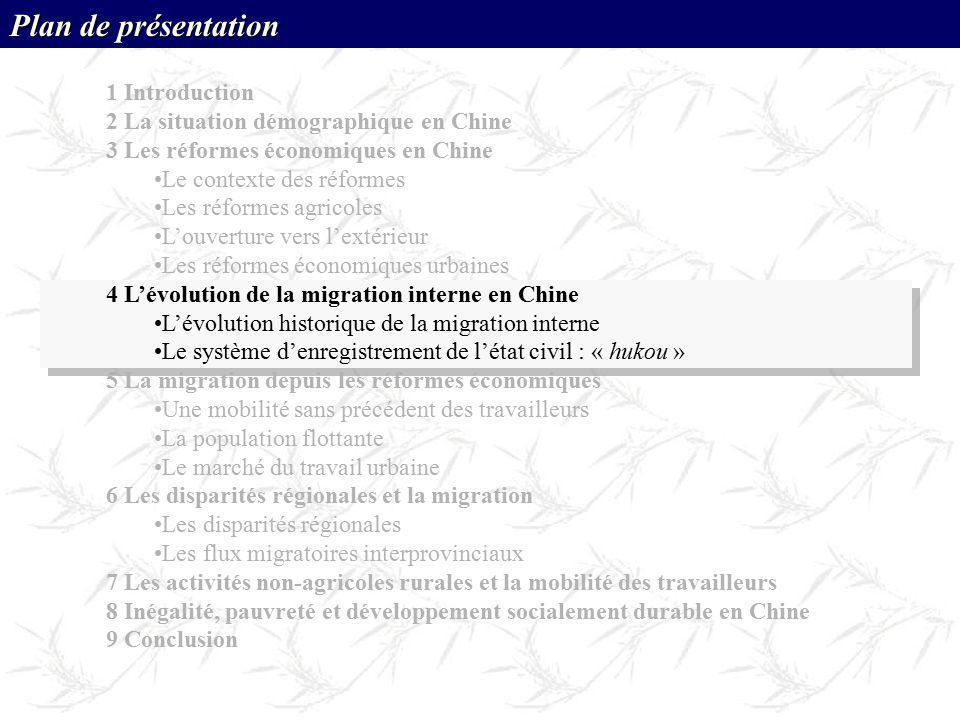 Plan de présentation 1 Introduction 2 La situation démographique en Chine 3 Les réformes économiques en Chine Le contexte des réformes Les réformes ag
