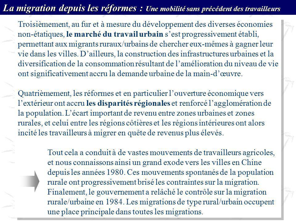 Troisièmement, au fur et à mesure du développement des diverses économies non-étatiques, le marché du travail urbain sest progressivement établi, perm