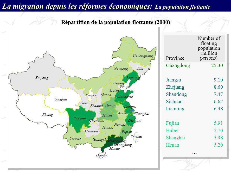 Répartition de la population flottante (2000) Xinjiang Xizang Qinghai Sichuan Yunnan Guizhou Neimeng Heilongjiang Gansu Shaanxi Hubei Henan Hunan Guan