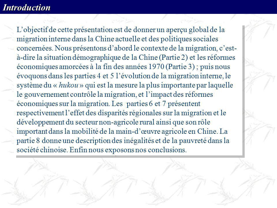 Lobjectif de cette présentation est de donner un aperçu global de la migration interne dans la Chine actuelle et des politiques sociales concernées. N