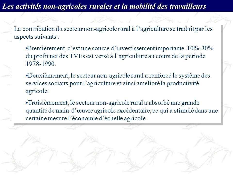 La contribution du secteur non-agricole rural à lagriculture se traduit par les aspects suivants : Premièrement, cest une source dinvestissement impor