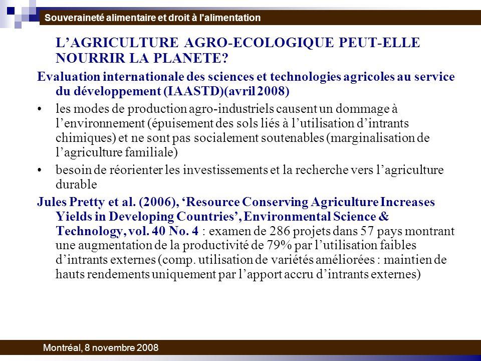 LAGRICULTURE AGRO-ECOLOGIQUE PEUT-ELLE NOURRIR LA PLANETE.