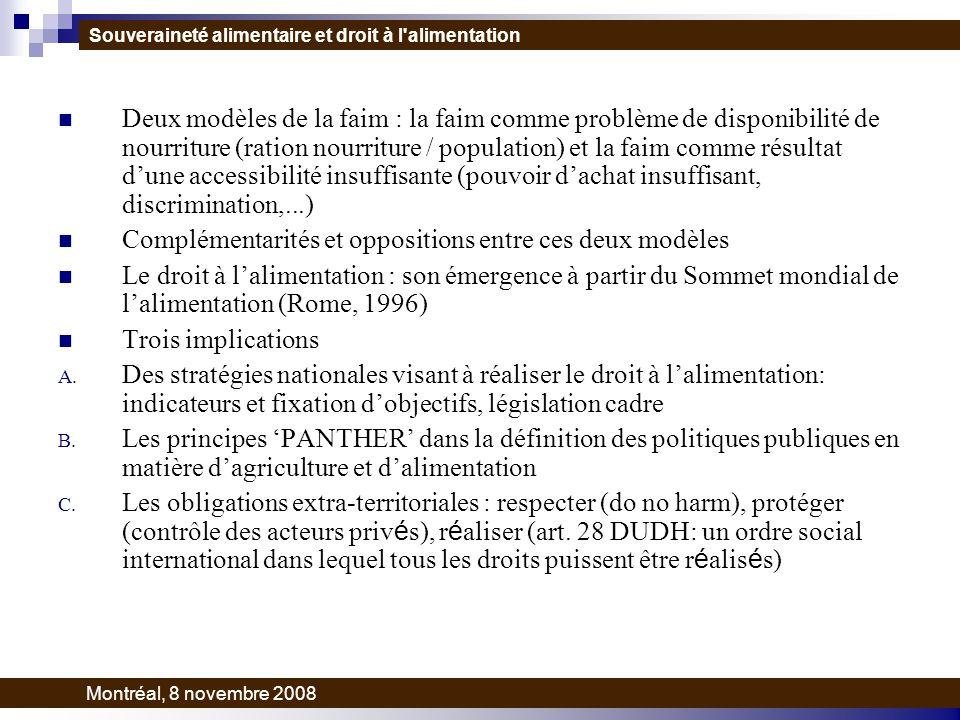 Deux modèles de la faim : la faim comme problème de disponibilité de nourriture (ration nourriture / population) et la faim comme résultat dune accessibilité insuffisante (pouvoir dachat insuffisant, discrimination,...) Complémentarités et oppositions entre ces deux modèles Le droit à lalimentation : son émergence à partir du Sommet mondial de lalimentation (Rome, 1996) Trois implications A.
