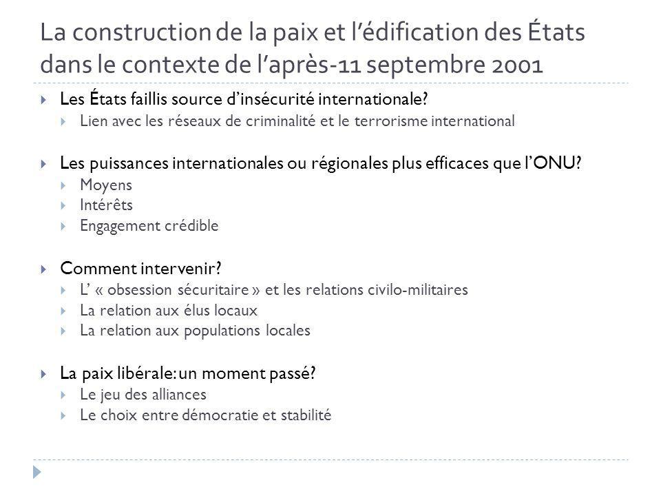 La construction de la paix et lédification des États dans le contexte de laprès-11 septembre 2001 Les États faillis source dinsécurité internationale.