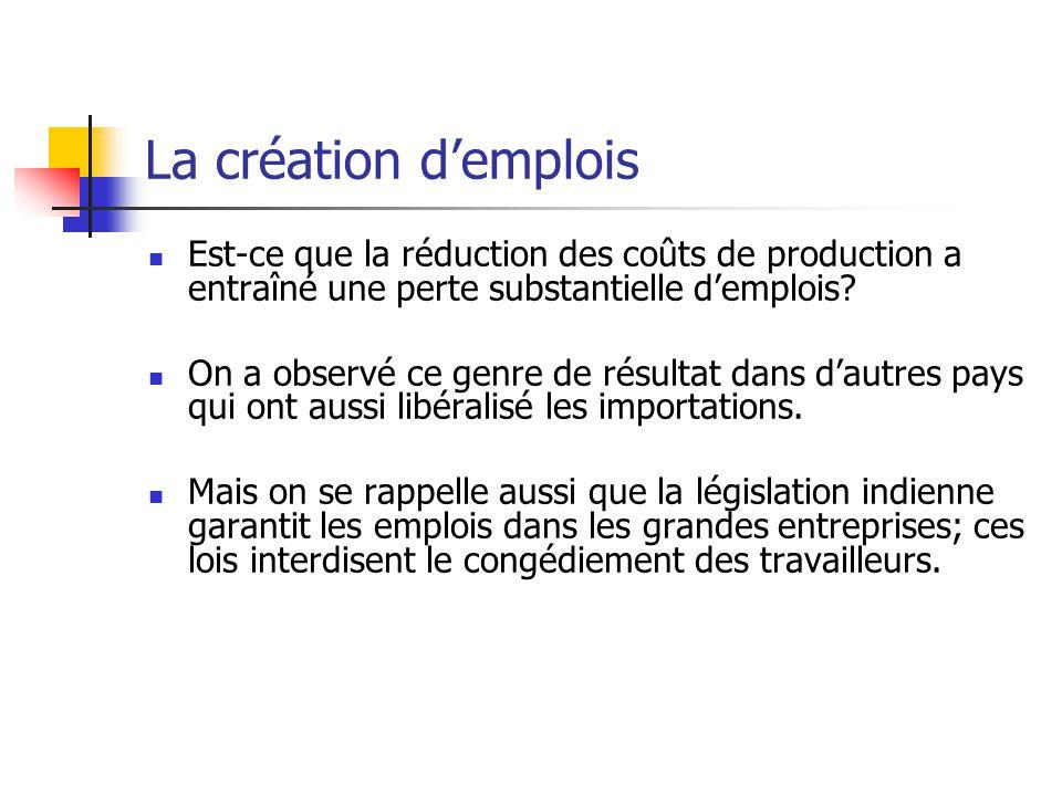 La création demplois Est-ce que la réduction des coûts de production a entraîné une perte substantielle demplois.