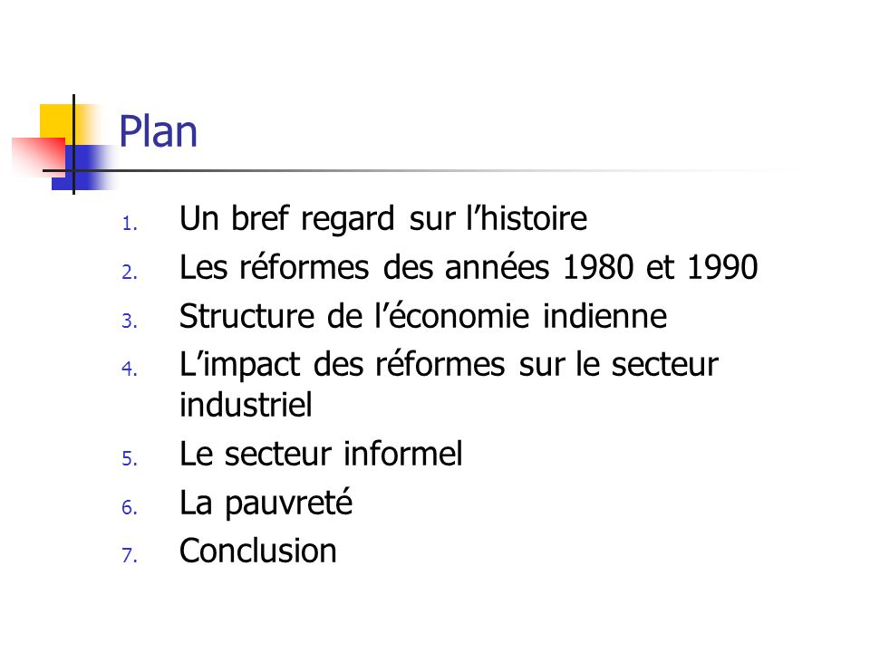 Plan 1. Un bref regard sur lhistoire 2. Les réformes des années 1980 et 1990 3.