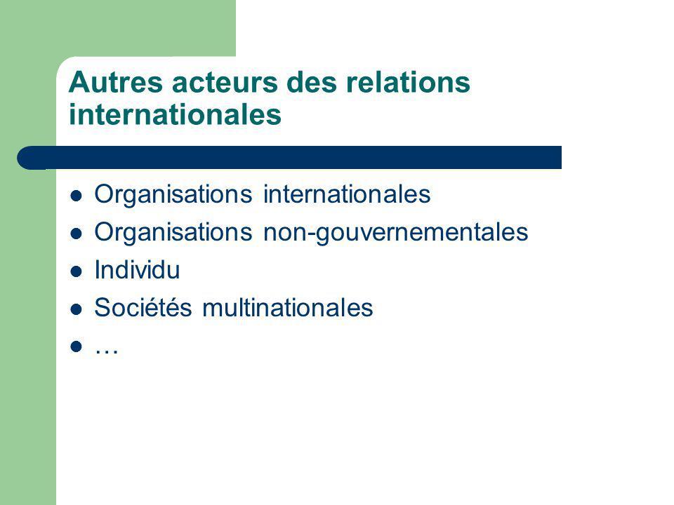 Autres acteurs des relations internationales Organisations internationales Organisations non-gouvernementales Individu Sociétés multinationales …
