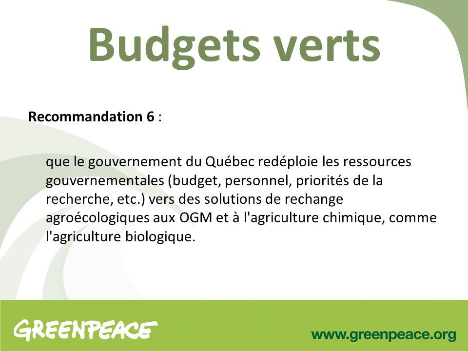Budgets verts Recommandation 6 : que le gouvernement du Québec redéploie les ressources gouvernementales (budget, personnel, priorités de la recherche, etc.) vers des solutions de rechange agroécologiques aux OGM et à l agriculture chimique, comme l agriculture biologique.