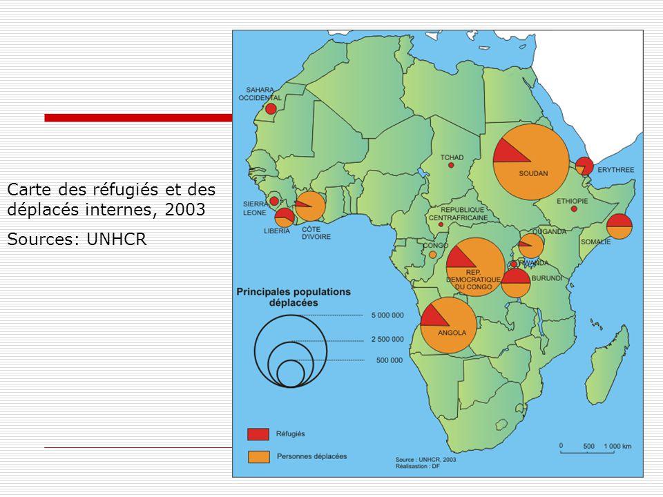 Carte des réfugiés et des déplacés internes, 2003 Sources: UNHCR