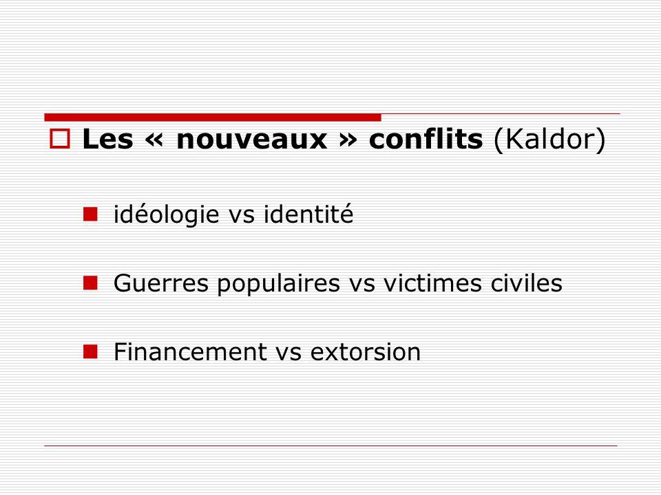 Les « nouveaux » conflits (Kaldor) idéologie vs identité Guerres populaires vs victimes civiles Financement vs extorsion