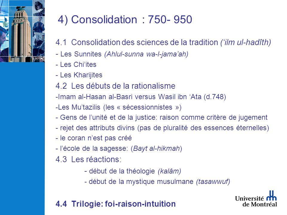 4) Consolidation : 750- 950 4.1 Consolidation des sciences de la tradition (ilm ul-hadîth) - Les Sunnites (Ahlul-sunna wa-l-jamaah) - Les Chiites - Le