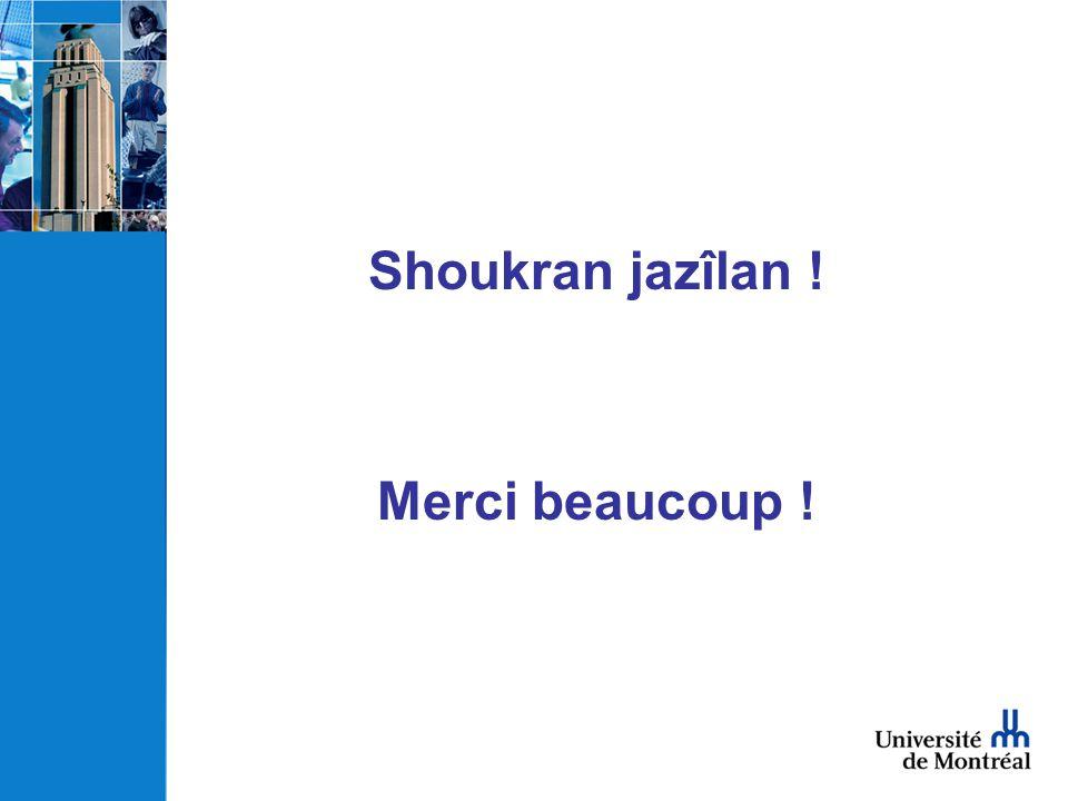 Shoukran jazîlan ! Merci beaucoup !