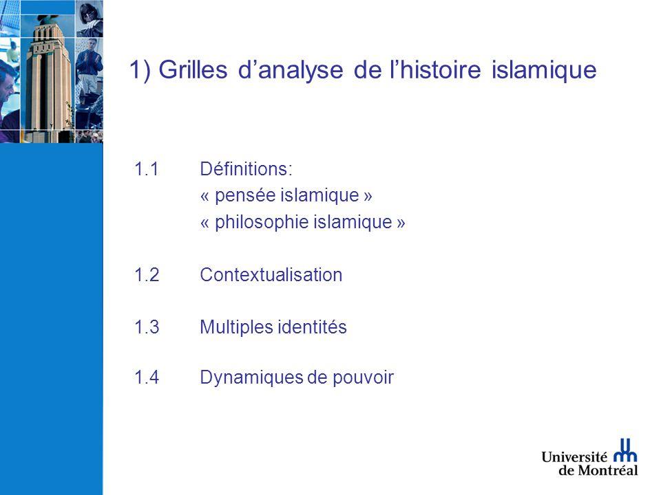 1) Grilles danalyse de lhistoire islamique 1.1Définitions: « pensée islamique » « philosophie islamique » 1.2Contextualisation 1.3Multiples identités