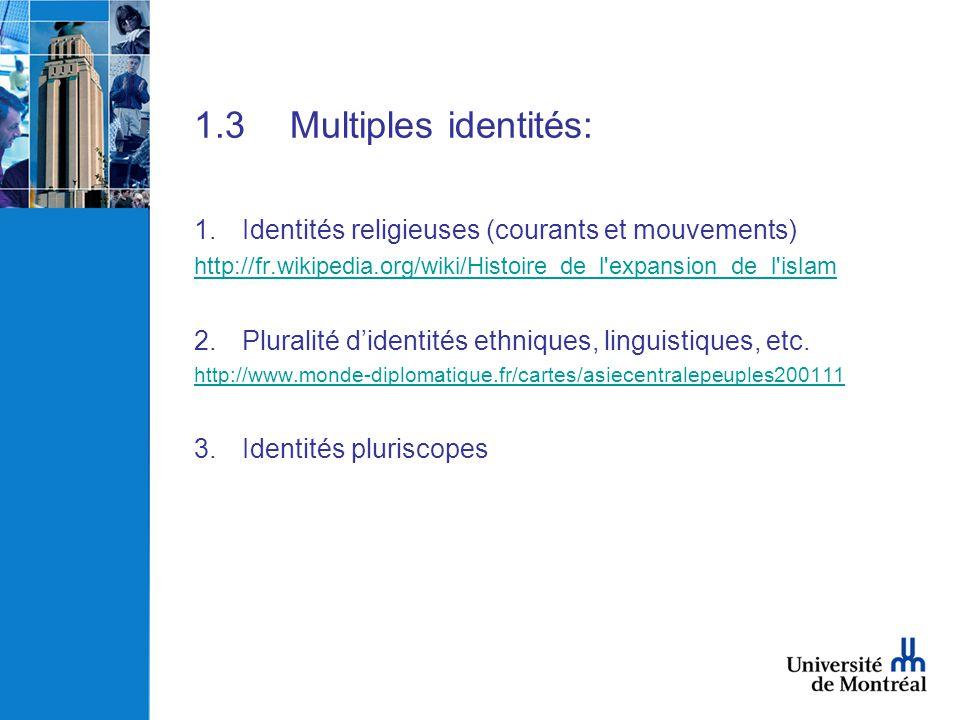 1.3Multiples identités: 1.Identités religieuses (courants et mouvements) http://fr.wikipedia.org/wiki/Histoire_de_l'expansion_de_l'islam 2.Pluralité d