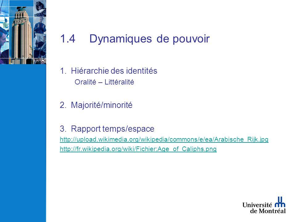 1.4Dynamiques de pouvoir 1.Hiérarchie des identités Oralité – Littéralité 2.Majorité/minorité 3.Rapport temps/espace http://upload.wikimedia.org/wikip