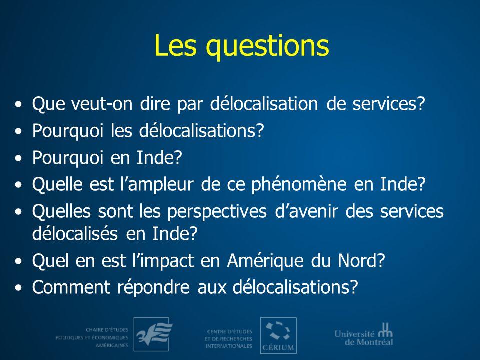 Les questions Que veut-on dire par délocalisation de services? Pourquoi les délocalisations? Pourquoi en Inde? Quelle est lampleur de ce phénomène en