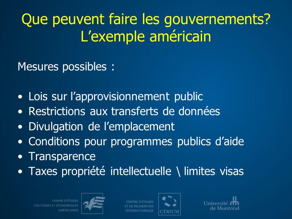Que peuvent faire les gouvernements? Lexemple américain Mesures possibles : Lois sur lapprovisionnement public Restrictions aux transferts de données