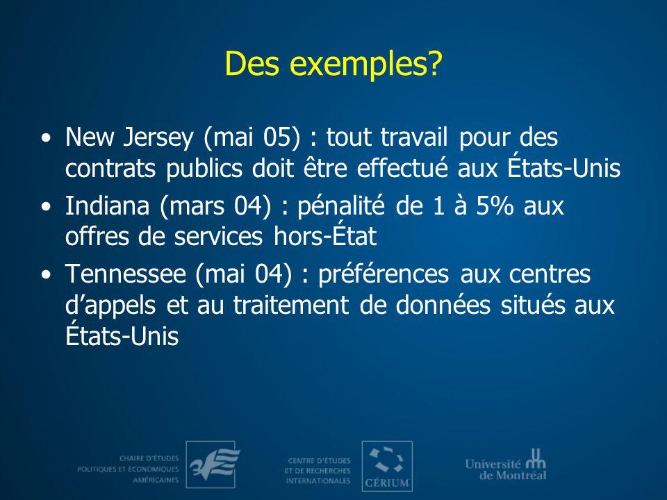 Des exemples? New Jersey (mai 05) : tout travail pour des contrats publics doit être effectué aux États-Unis Indiana (mars 04) : pénalité de 1 à 5% au
